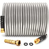 Cesun 50 Feet 304 Stainless Steel Metal Garden Hose with Solid Brass Nozzle, Lightweight Portable Durable Cool to The Touch,