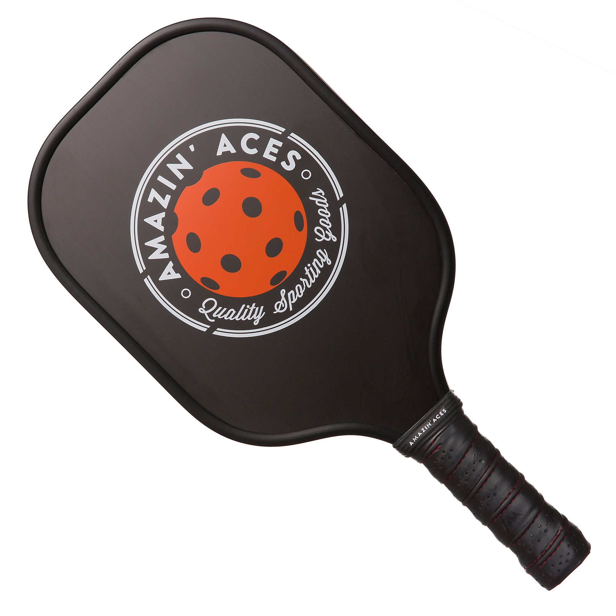 Amazin' Aces Pickleball Paddle Set | Pickleball Set Includes Two Graphite Pickleball Paddles + Four Balls + One Mesh Carry Bag | Premium Rackets Graphite Face & Polymer Honeycomb Core (Black Single) by Amazin' Aces