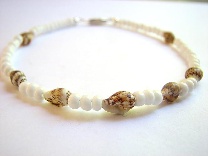 Amazon Com White Sea Shell Ankle Bracelet Beach Bride Anklet Handmade
