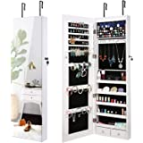 AOOU Jewelry Organizer Jewelry Cabinet 6 LEDs Lockable Wall Door Mounted Armoire with Mirror, Makeup Organizer 2 Drawers White Jewelry Armoire (White)