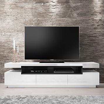 Evoque White High Gloss Tv Stand Unit With Chrome Legs Range Amazon
