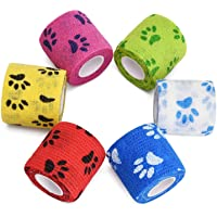 """2"""" Cohesive Bandage Vet Wrap, Self Stick Adhesive Tape Roll, Elastic & Breathable, First Aid Bandage for Pet Dog Cat Animal Wound - 6Pack"""
