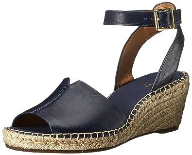 Ckarks Soft Navy Leather Print Wedge Heeled Sandal Size 6