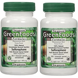 Swanson GreenFoods Sulforaphane 400mcg (2 Bottles each of 60 Veggie Capsules)
