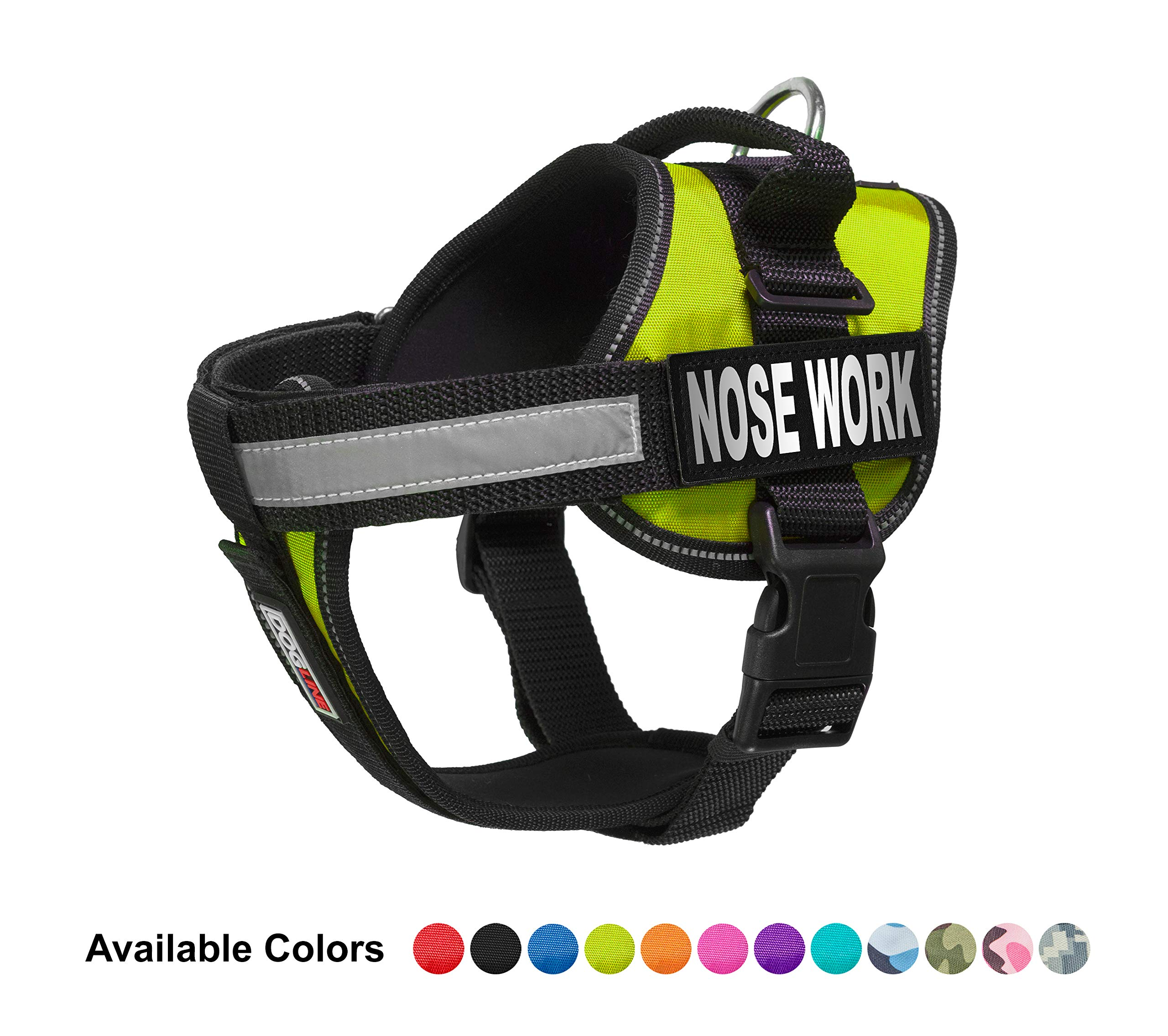 Dogline Vest Harness for Dogs and 2 Removable Nose Work Patches, X-Large/36 to 46'', Green