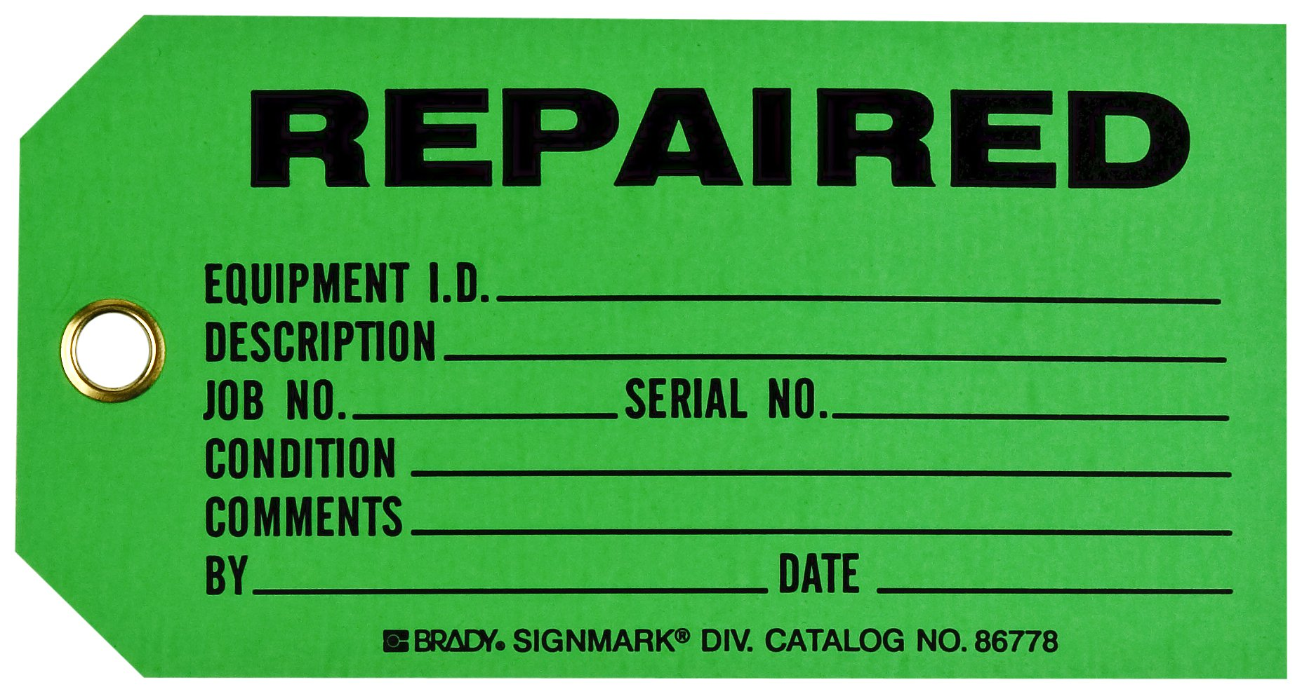 Brady  86778 3'' Height x 5 3/4'' Width, Cardstock (B-853), Black on Green Production Status Tags (100 Tags)