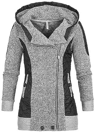 e54825d51d9f7b Seventyseven Lifestyle Damen Zip Hoodie Kapuze 2 Taschen 2 Ton grau schwarz  Melange: Amazon.de: Bekleidung