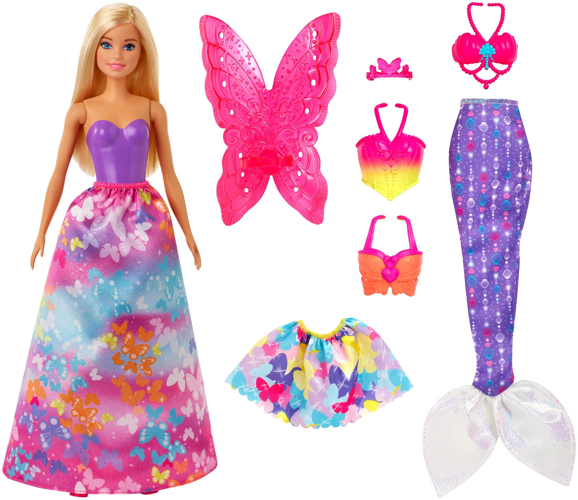 Barbie Dreamtopia Dress Up Doll Gift Set, 12.5-Inch, Blonde with Princess, Fairy and Mermaid Costumes, Gift for 3 to 7 Year Olds, Multicolor