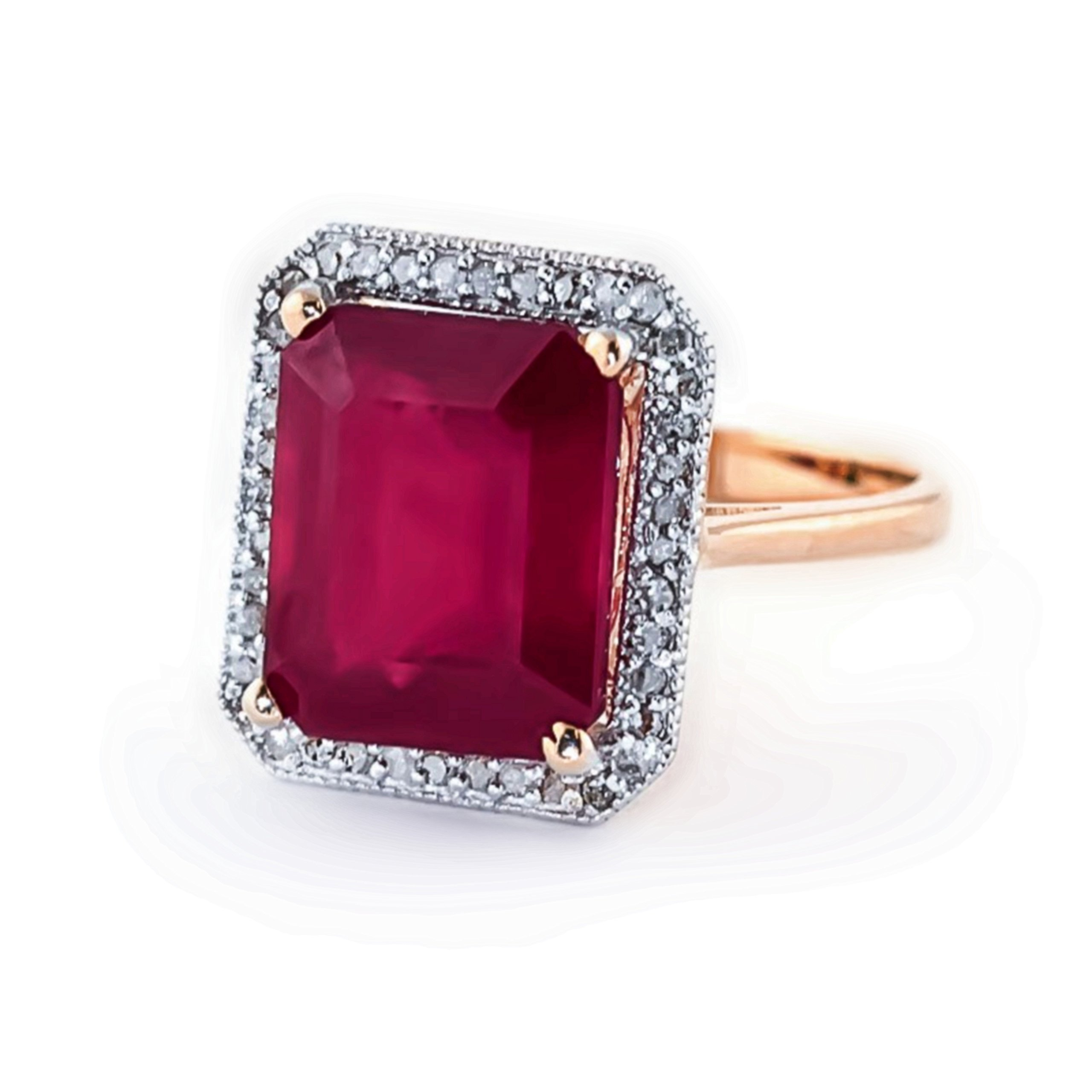 7.45 Carat 14K Solid White Rose Yellow Gold Emerald Cut Ruby Halo Design with Natural Diamond Ring 4894 (Rose-Gold, 9.5)