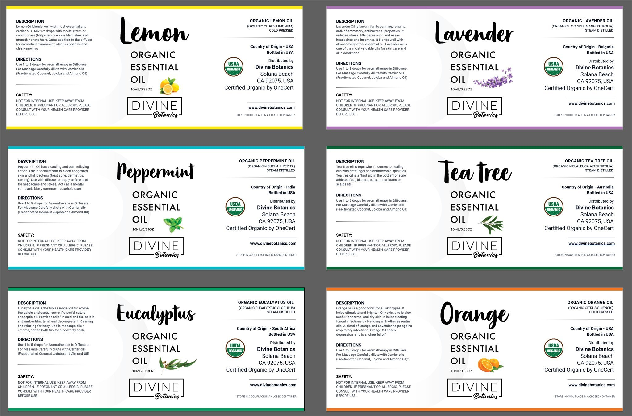 USDA Organic Essential Oils (Set of 6 10 ml) Natural Aromatherapy for Diffuser | Therapeutic Stress Relief & Relaxation Mothers Day Gift Set | Lavender Peppermint Tea Tree Lemon Orange Eucalyptus