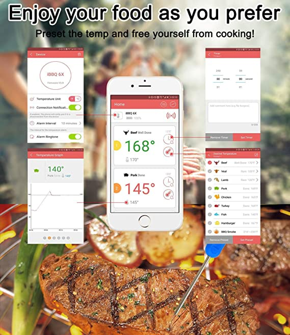 BBQ Smoker Cooking Meat 2pc Greenfird Thermometer02-2pc Kitchen APP Controlled Smart Cooking Bluetooth Thermometer with 6 Upgraded Meat Probes for Outdoors Yasmine Digital Meat thermometer for Grilling
