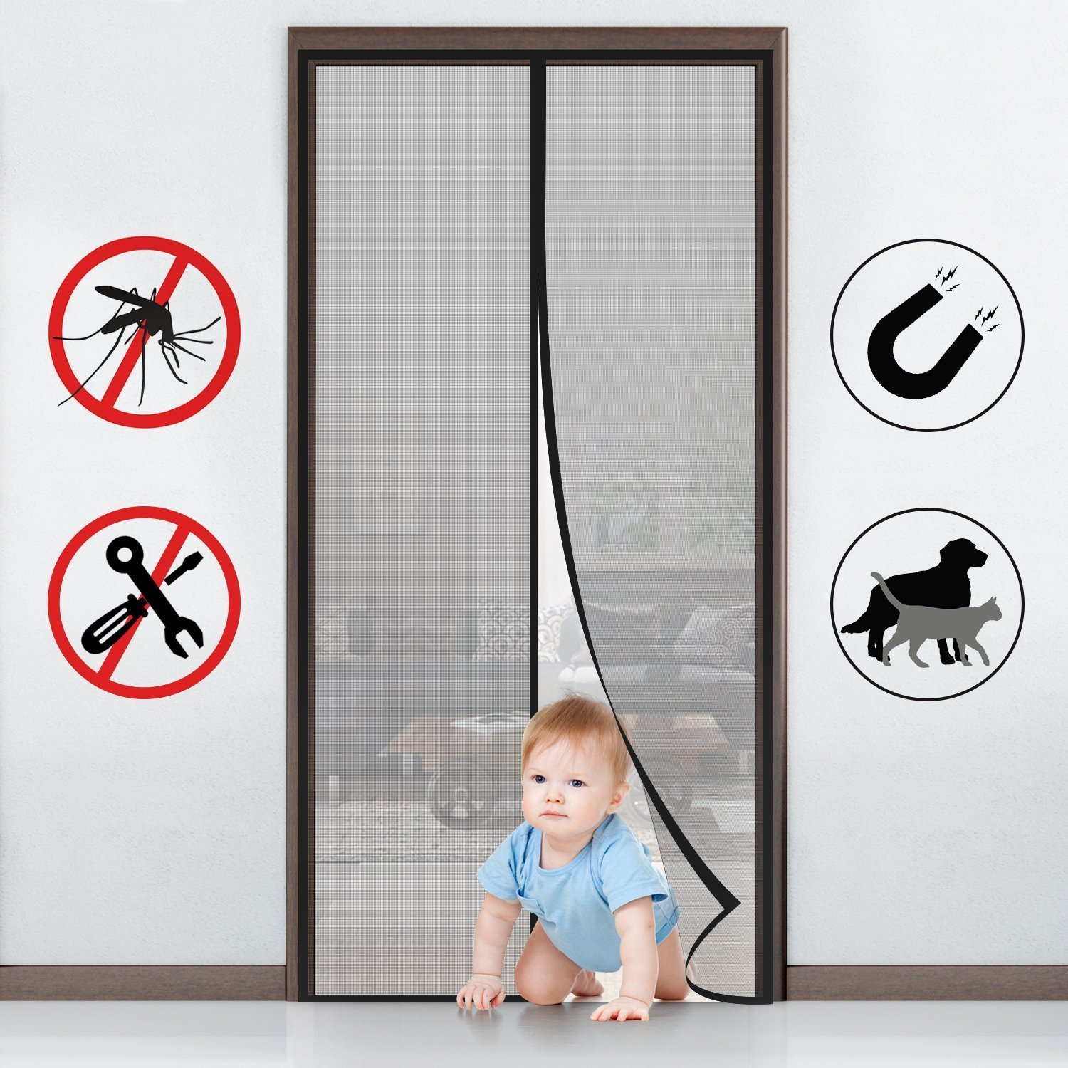 FabricMCC Magnetic Screen Door, Heavy Duty Instant Mesh Curtain Screen Door Protector with Full Frame Magic Stickers Fits Doors up to 36''x82'' Max by FabricMCC