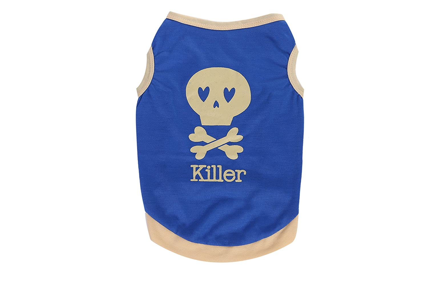 bluee+Cream Skull L bluee+Cream Skull L Skull Print Vest T-Shirt for Small Dogs and Cats Summer Dog Appare (L, bluee+Cream Skull)