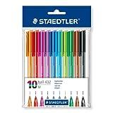 Staedtler 43235MPB10 stick Kugelschreiber, Linienbreite M, 0.45 mm, Schaft in Schreibfarbe, 10 Stück im Polybeutel