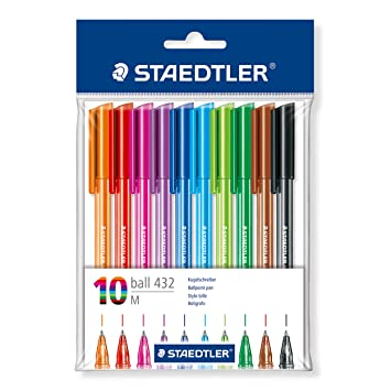 Image result for STAEDTLER 43235MBP10 Medium Rainbow Ballpoint Pens, Assorted Colours, Pack of 10