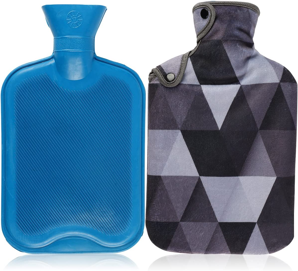 Hot Water Bottle & Cover Set,AUPET 2 Liters Premium Classic Rubber Hot Water Bottle with Super Luxurious Cozy Soft Flannel Cover Set, Great for Pain Relief, Hot and Cold Therapy (Cool Gray Lattices)