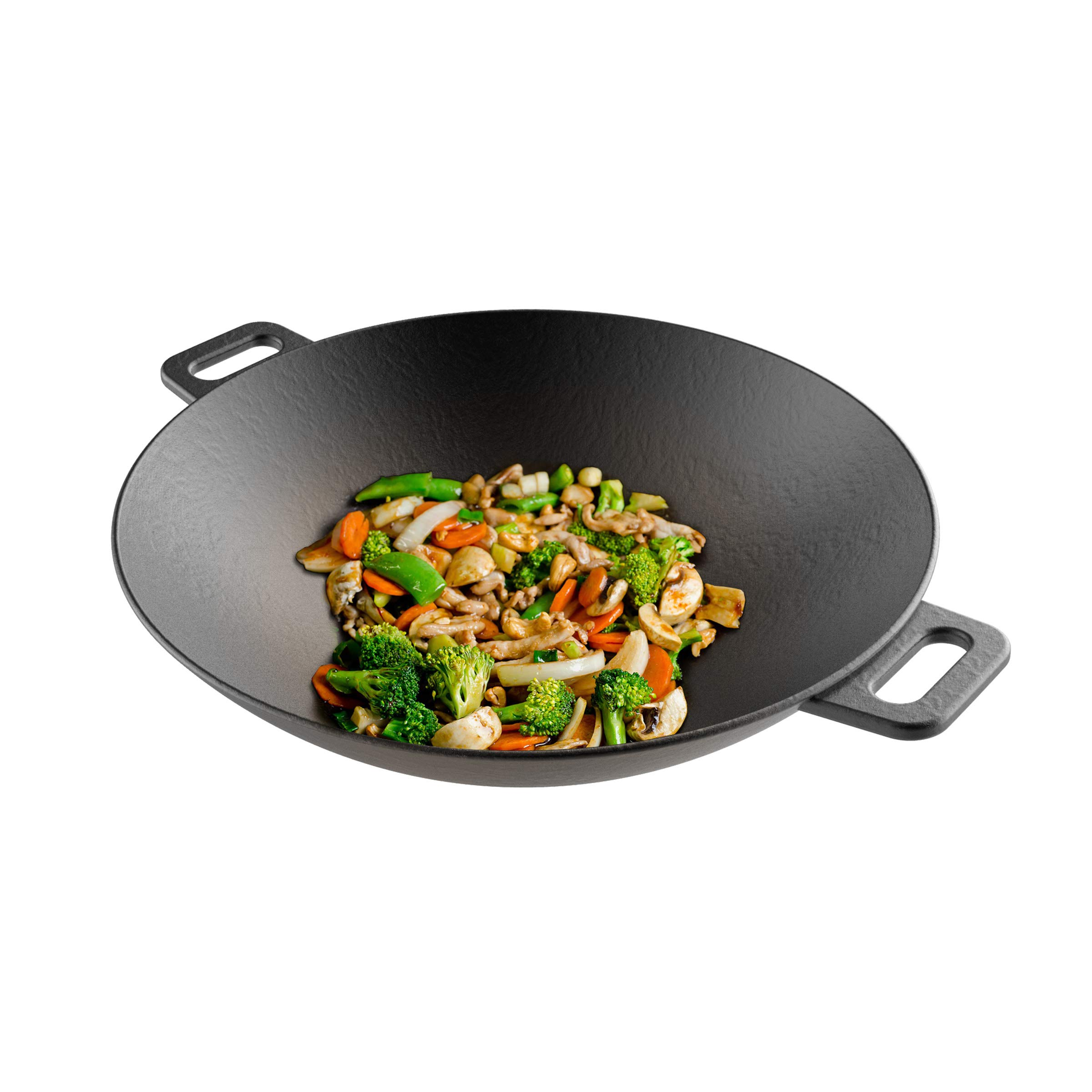 """Cast Iron Wok-14"""" Pre-Seasoned, Flat Bottom Cookware with Handles-Compatible with Stovetop, Oven, Induction, Grill, or Campfire by Classic Cuisine"""