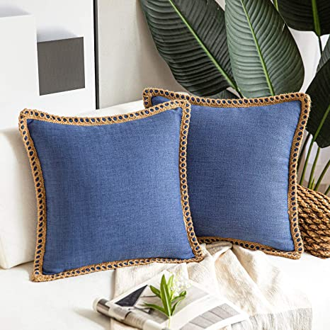 Amazon Com Phantoscope Pack Of 2 Farmhouse Decorative Throw Pillow Covers Burlap Linen Trimmed Tailored Edges Navy Blue 18 X 18 Inches 45 X 45 Cm Home Kitchen