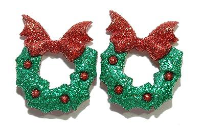 Amazon Com Bright Green Red Glittery Christmas Wreath Stud