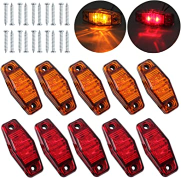 Justech 4x 2 Diodes Amber Side Marker Lights Side Fender Marker Assembly Waterproof LED Position Side Lamps 12V 24V For Trailer Van Caravan Truck Lorry Car Bus