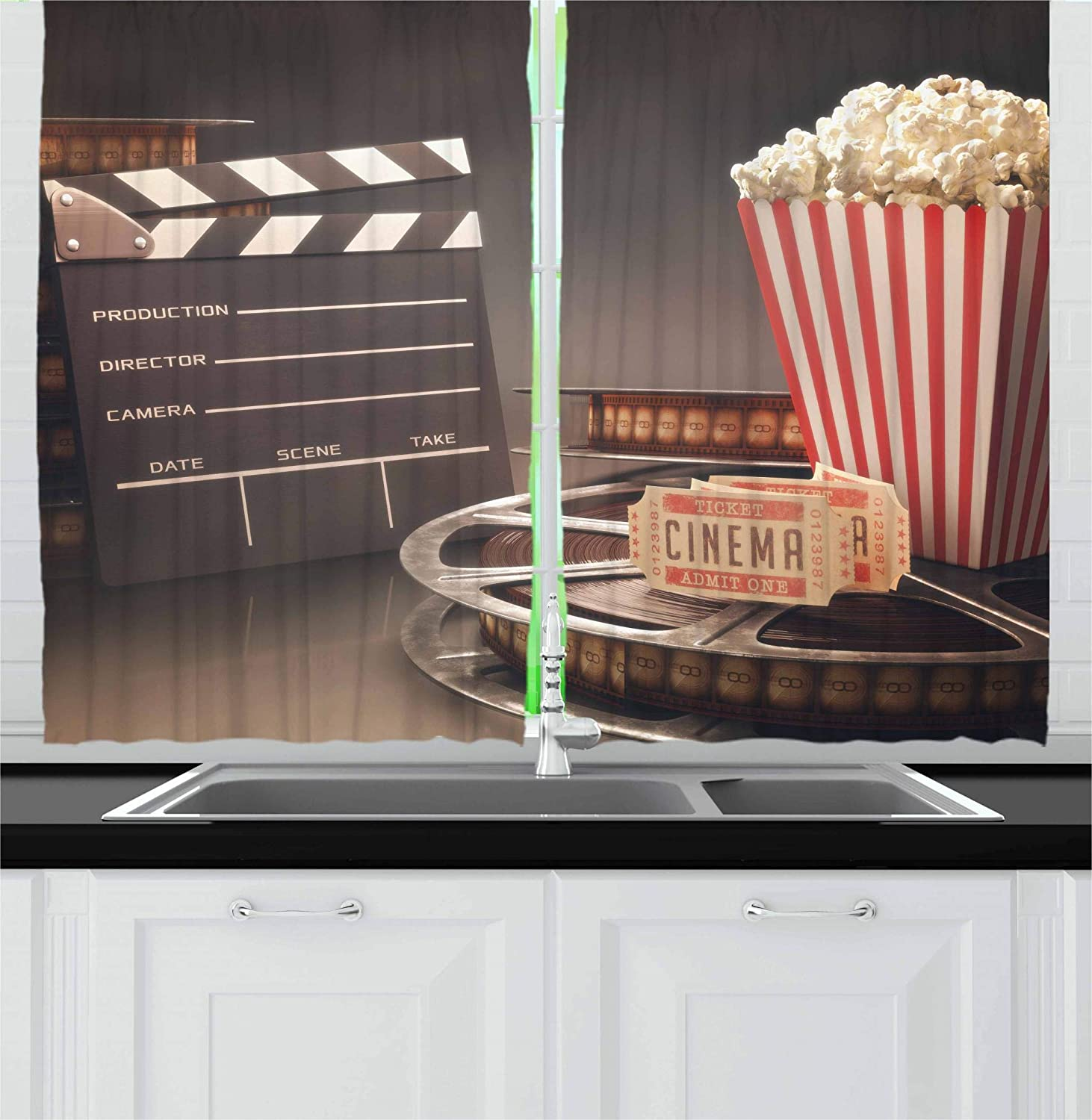 Amazon Com Ambesonne Movie Theater Kitchen Curtains Old Fashion Entertainment Objects Related To Cinema Film Reel Motion Picture Window Drapes 2 Panel Set For Kitchen Cafe Decor 55 X 39 Yellow White Home