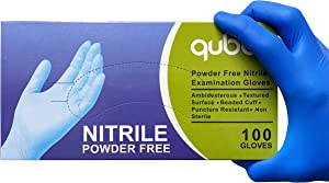 Nitrile Medical Grade Exam Gloves, Powder Free, Latex-Free, 4 MIL, Fingertip Textured, Size Medium - 1 Box of 100 Gloves by Weight