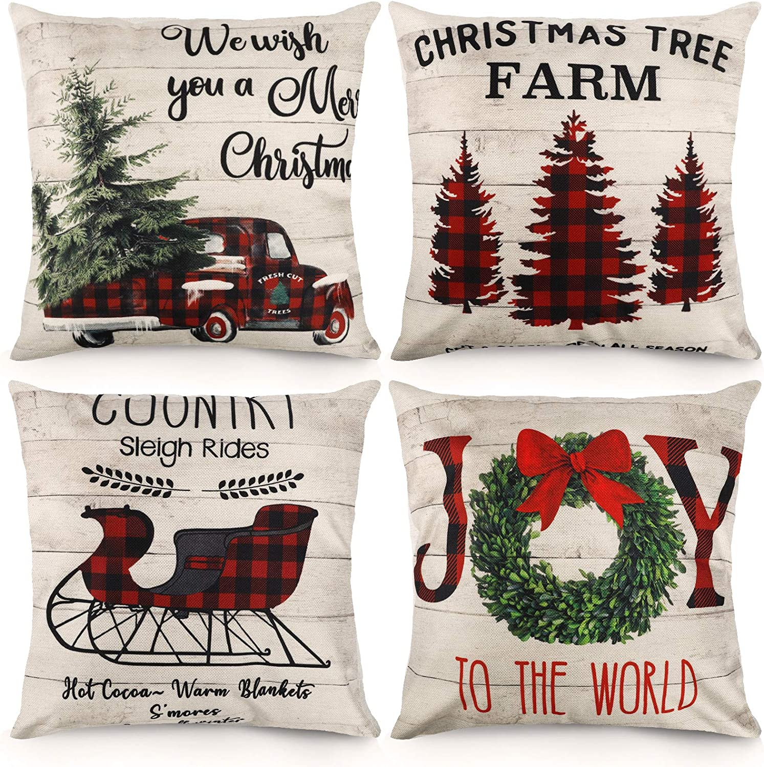 Christmas Pillow Covers 18x18 Inches Set of 4 Buffalo Plaid Farmhouse Xmas Decor