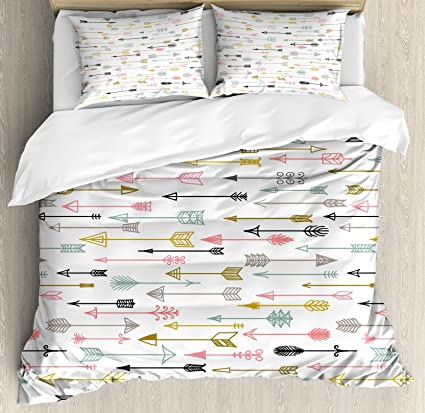 Arrow Decor Duvet Cover Set Queen Size By Ambesonne, Colorful Arrows  Pattern Native American Style