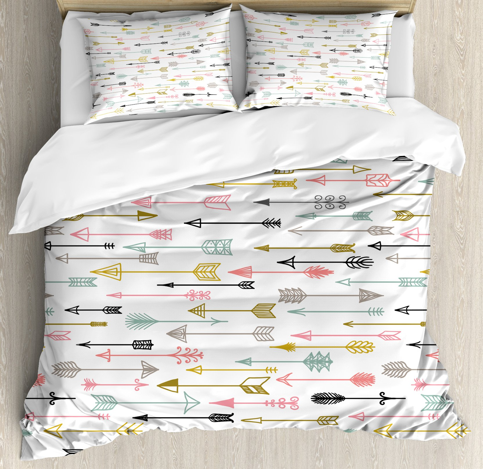 Arrow Decor Duvet Cover Set Queen Size by Ambesonne, Colorful Arrows Pattern Native American Style Art, Decorative 3 Piece Bedding Set with 2 Pillow Shams