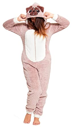 74212625776 Ladies Fleece Animal Hooded Onesies Onesie Romper All in One Pyjamas  Unicorn Panda Teddy Bear Grey Brown Pink Size UK 8 10 12 14 16 18   Amazon.co.uk  ...