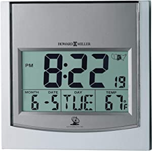 Howard Miller Techtime I Wall Clock 625-235 – Digital Alarm Clock with Radio Control Movement