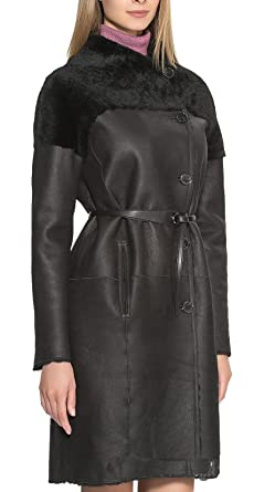 f6f1db82dd80 Women's Winter Plus Size Leather Shearling Lining Maxi Coat Warm Jacket  Outwear with Belt S Plus