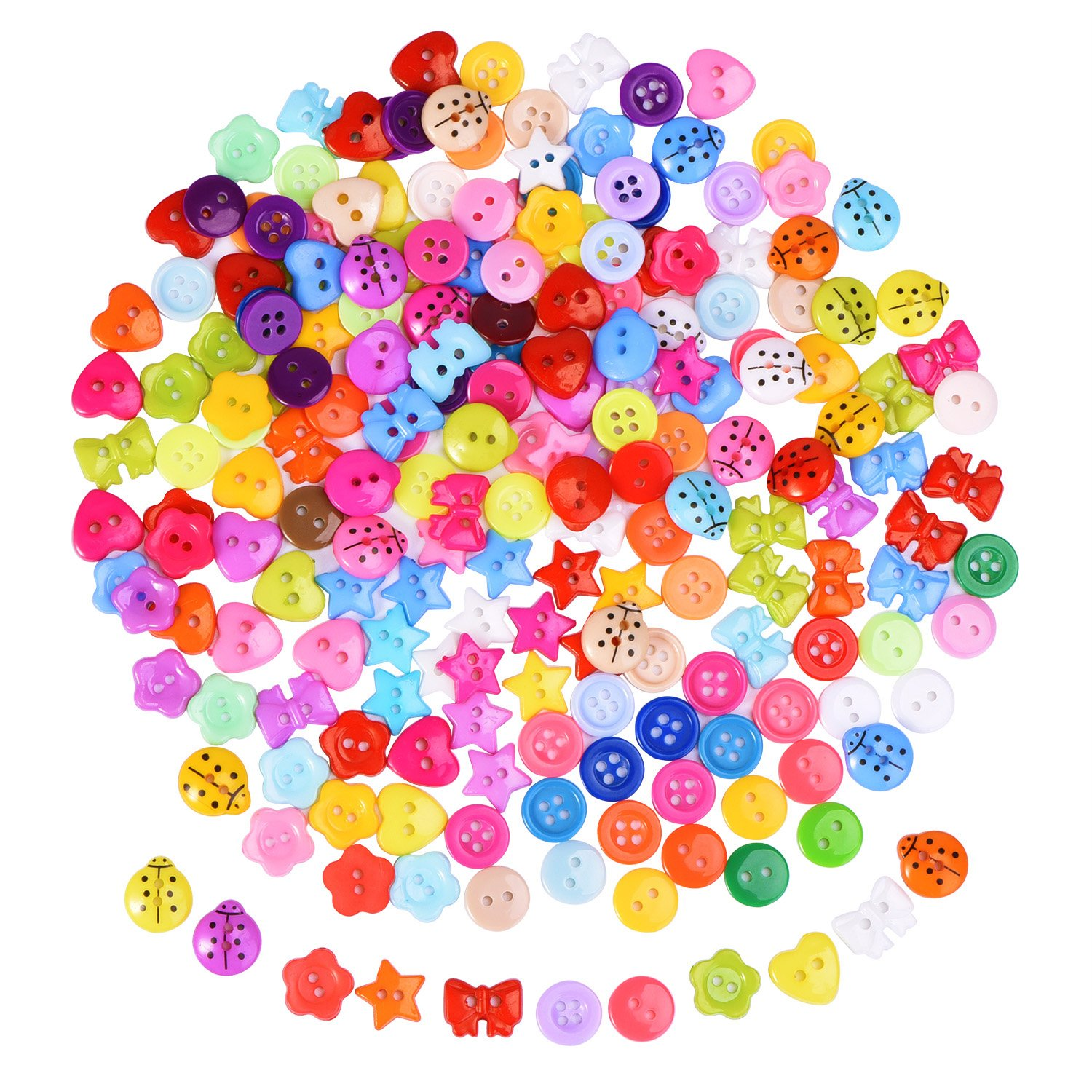 200 Pieces Resin Buttons Assorted Color Button Small Buttons Lot for Sewing Craft Scrapbooking and DIY Handmade Ornament Shappy