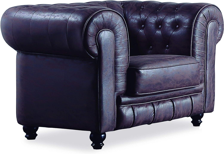 Adec - Chesterfield, Sofa Individual de una Plaza, Sillon Descanso una 1 Persona, butaca Acabado en capitone Color Chocolate Vintage, Medidas: 115 cm (Largo) x 84 cm (Fondo) x 75 cm (Alto)