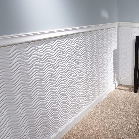 Wavations Matte White 32 x 48 Decorative Wainscot Panel Fasade Fast and Easy Installation