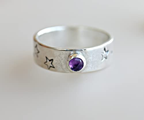 Studio Sterling Silver Star Cuts Blue SAPPHIRE Constellation Wide Stack Band RING