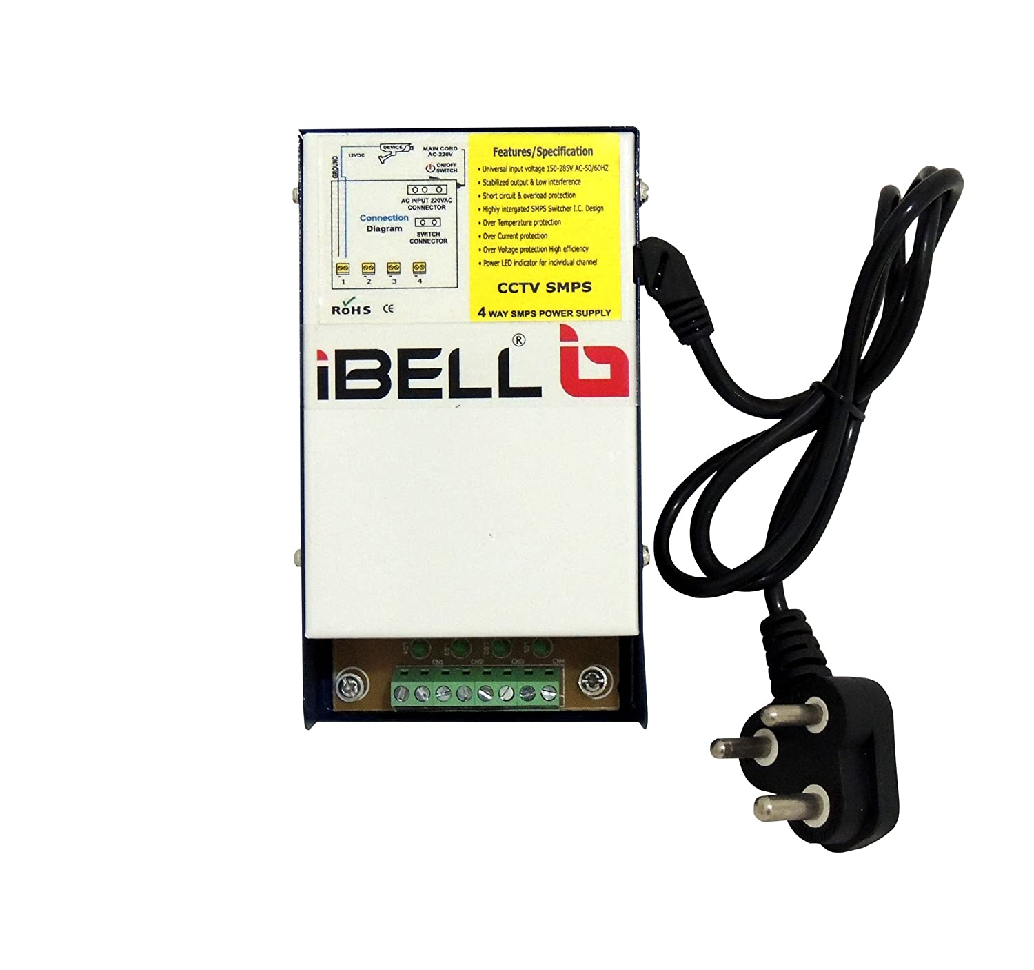 Buy Ibell Cp404 4 Channel Smps For Cctv Surveillance Spy Camera 12v Wiring Diagram Output 150 285v Power Supply Adaptor Up To Cameras Online At Low Price In