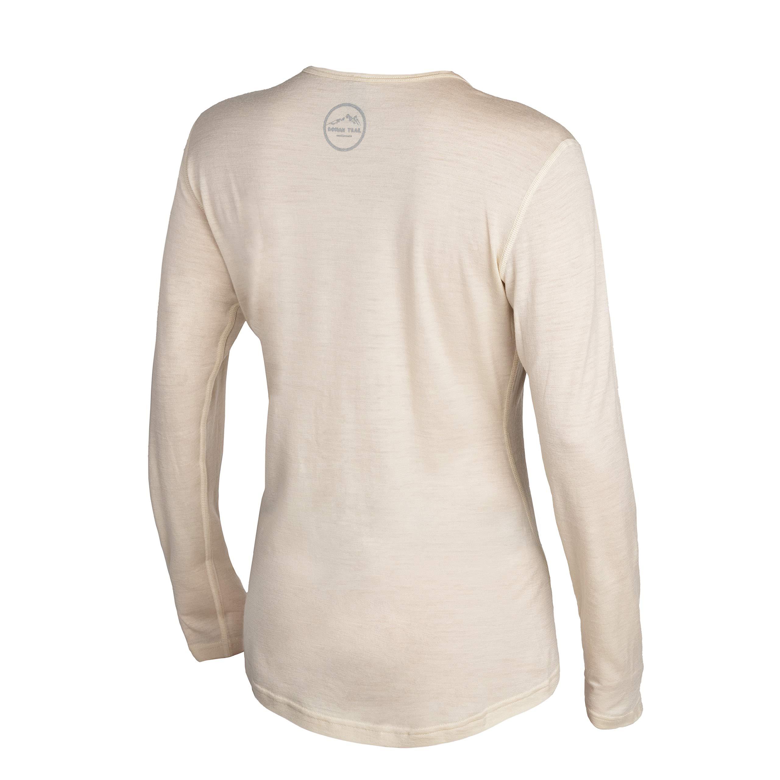 Western Owl Outfitters Merino Wool Women's Long Sleeve Top |Crew Neck Shirt | Lightweight | Moisture Wicking | Base Layer (Medium, Cloud Cream)