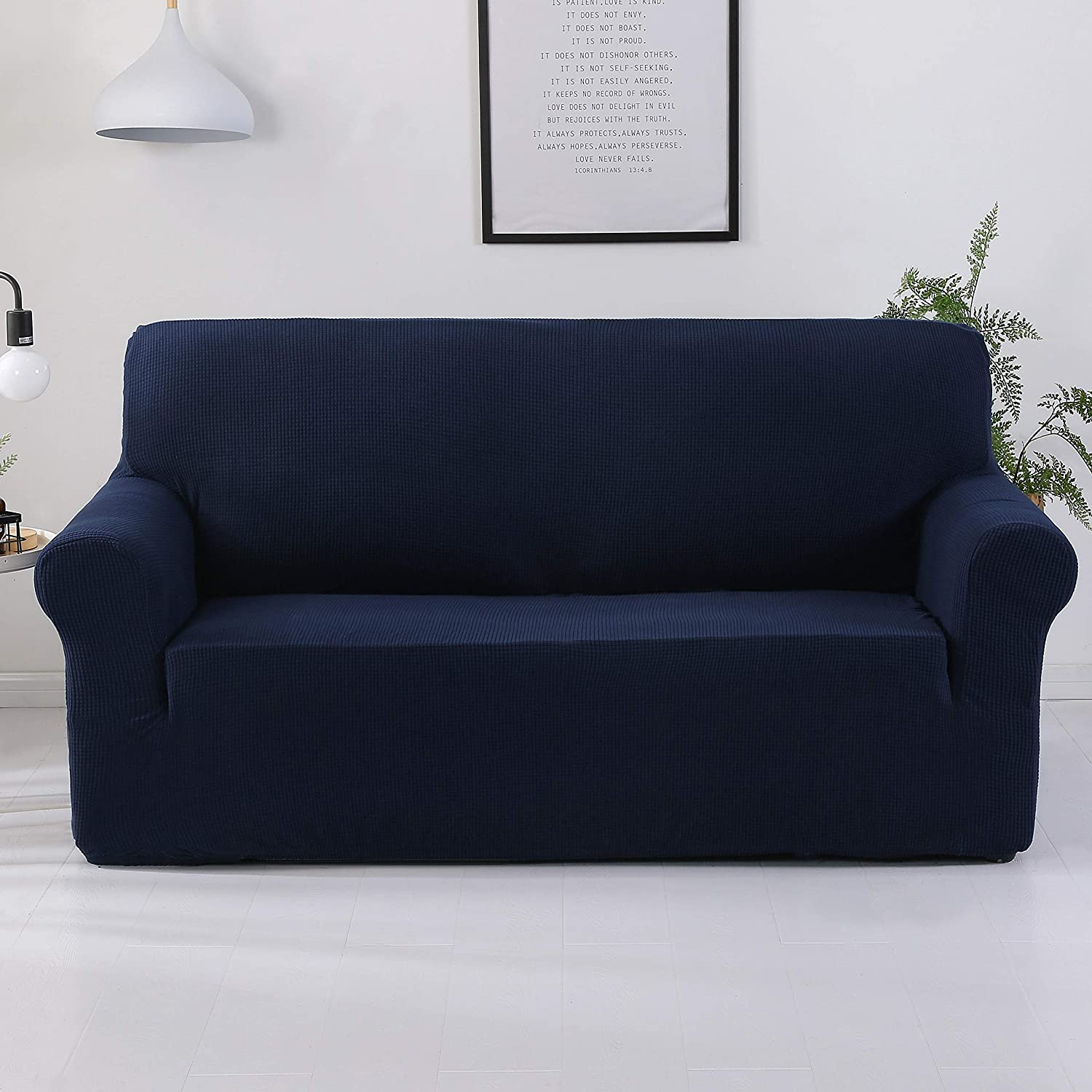 FORCHEER Couch Cover for Leather Couch 3 Seater Sofa Slipcovers Living Room  Furniture Protector for Pets 1PC(Sofa,Navy/Dark Blue)