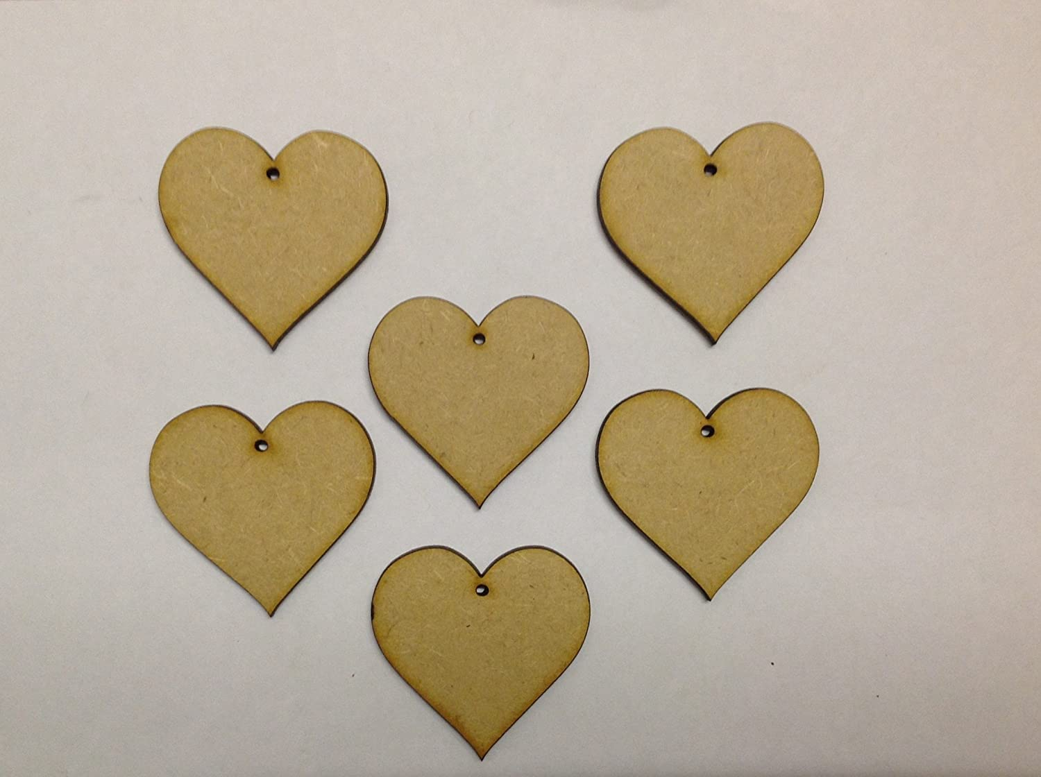 "100 MDF Hearts Shapes Wooden Blank Embellishments 4/"" With Hanging Hole Options"