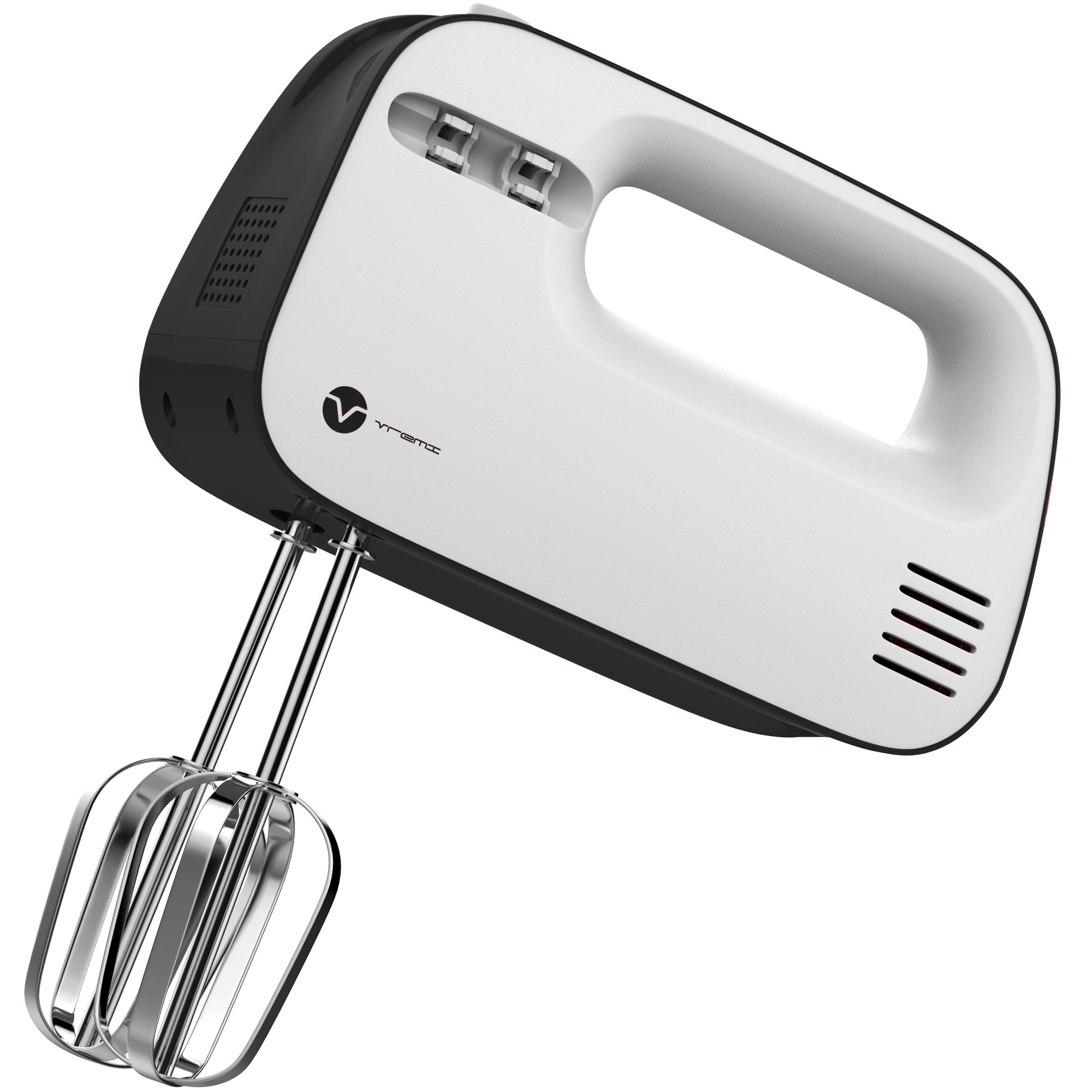 Vremi 3-Speed Compact Hand Mixer with Clever Built-In Beater Storage - Handheld Egg Beater with Stainless Steel Blades - Heavy Duty Mini Small Kitchen Mixing Machine - Black and White by Vremi