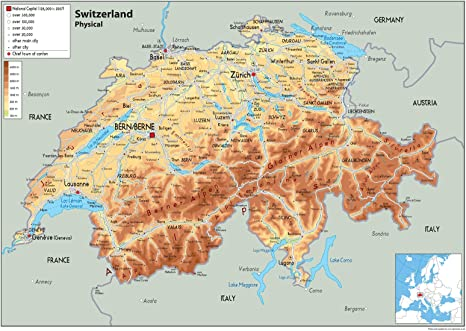 Cartina Geografica Politica Svizzera.Svizzera Mappa Fisica Carta Plastificata A0 Size 84 1 X 118 9 Cm Amazon It Cancelleria E Prodotti Per Ufficio