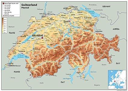 Cartina Della Svizzera.Svizzera Mappa Fisica Carta Plastificata A2 Size 42 X 59 4