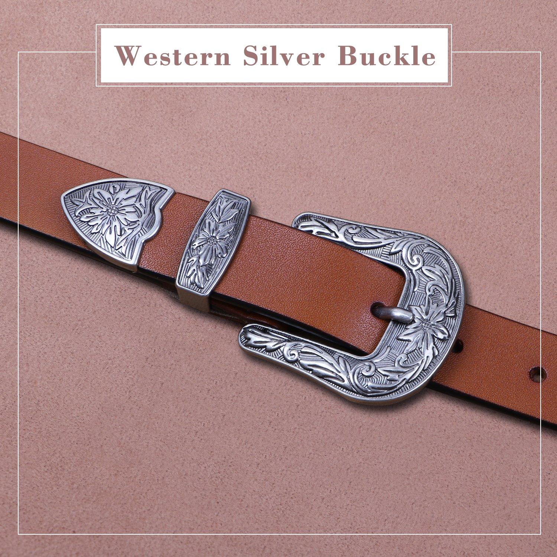 Ladies Western Leather Belts Cowhide Leather Jeans Belt Vintage Dresses Skinny Belt Adjustable Metal Buckle 28''-34'' Gift Box Brown by XZQTIVE (Image #4)