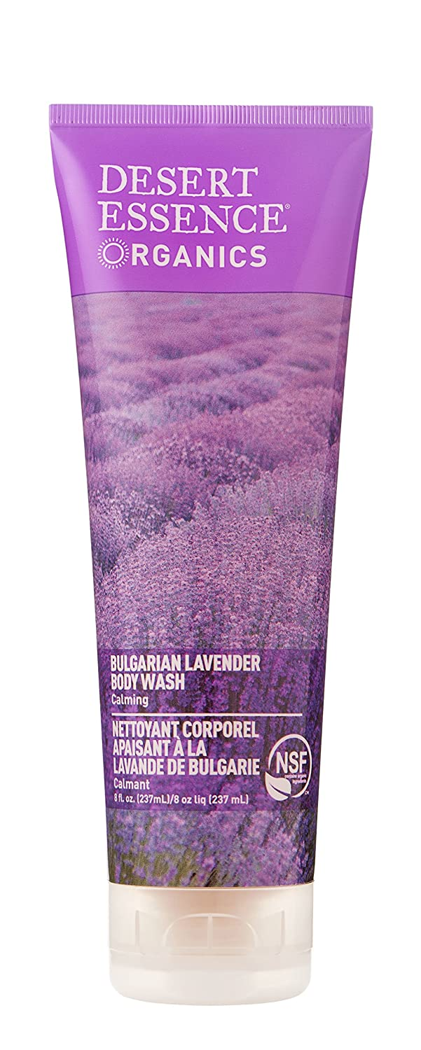 Desert Essence Bulgarian Lavender Body Wash - 8 Fl Ounce - Gentle Cleansing - Calms & Soothes Skin - Soft & Nourished - Vitamin A, B & C - Yucca Cactus - Promotes Healthy Skin