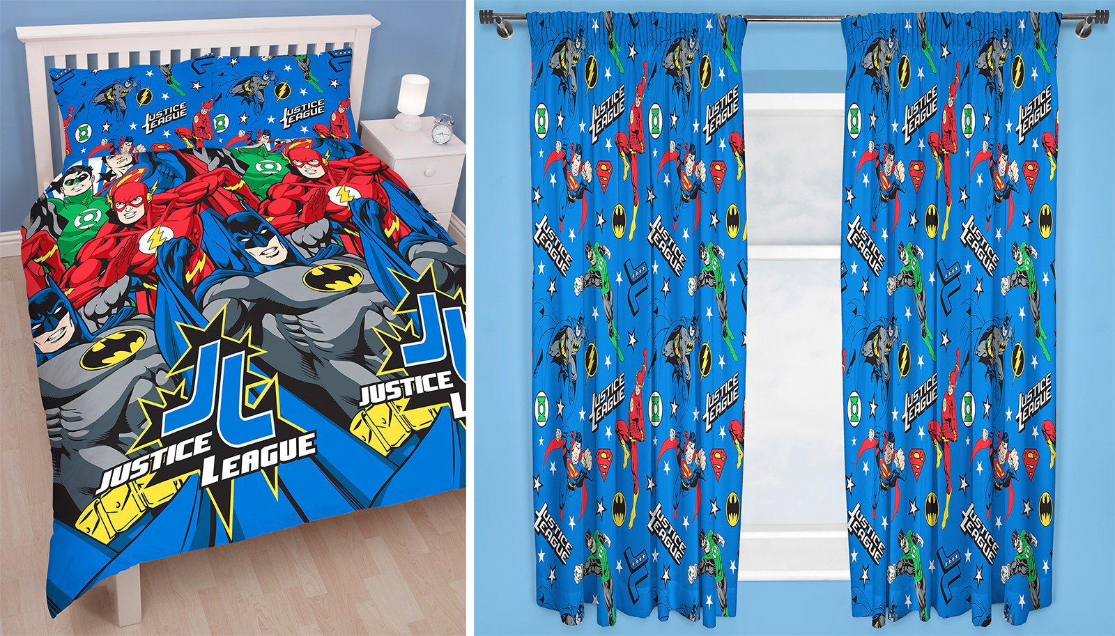 Justice League Inception Double Duvet Set and Matching 66'' x 72'' Drop Curtains