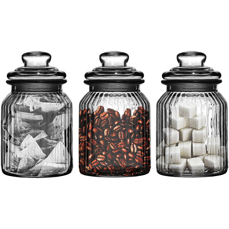 Prime Homewares Set de 3/990/ML de Cristal para t/é caf/é y az/úcar Candy Bonbon Sweet para Galletas tarros de Cristal Nuevo