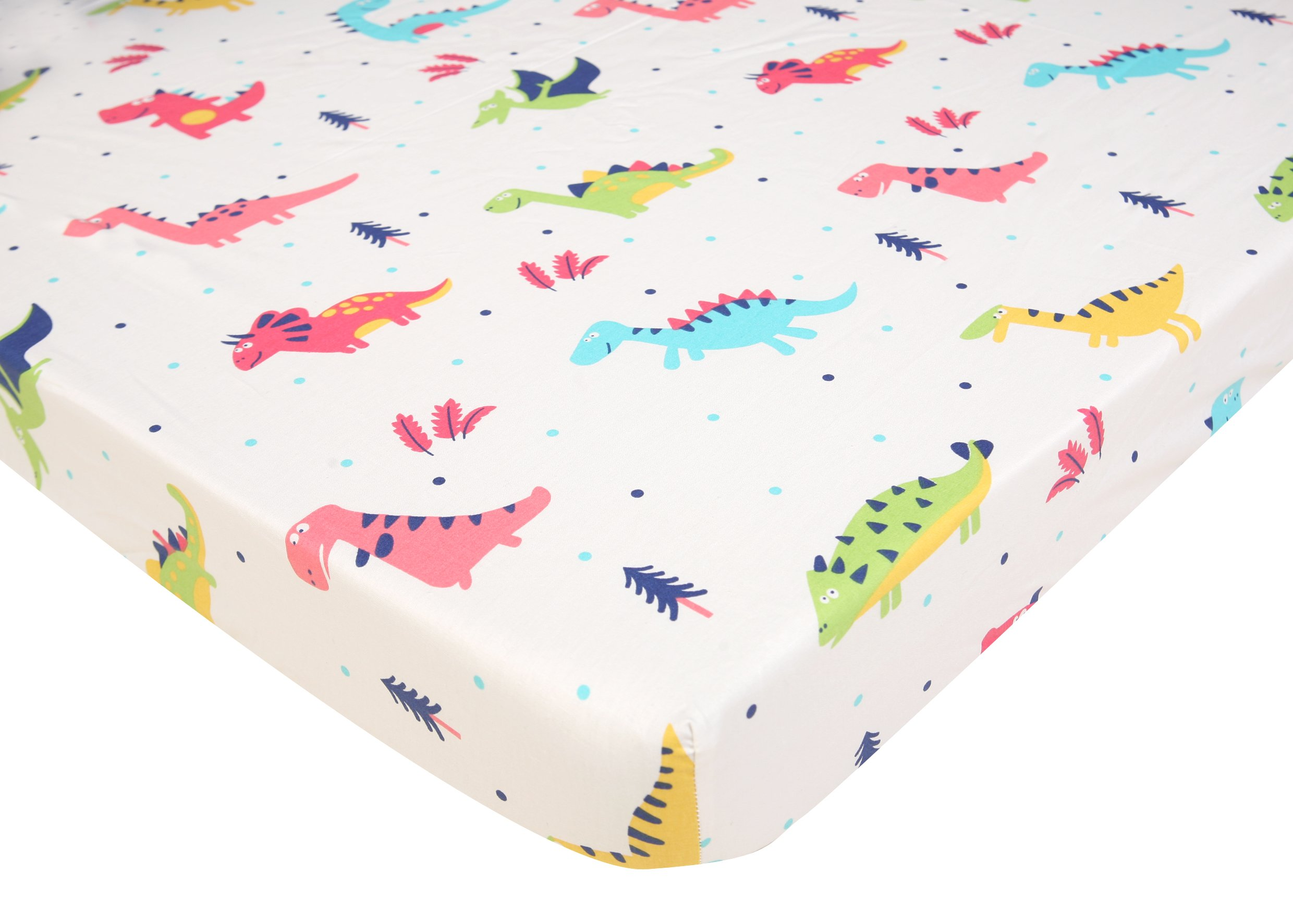 Pack N Play Playard Sheet - 2 Pack 100% Premium Cotton, Fits Perfectly Graco Pack N Play, Dream On Me Playard Mattress 3'' Or Any Standard Mini Crib Mattress, Happy Dinos and Chevron by Luxuriously Soft-NEW YORK (Image #2)