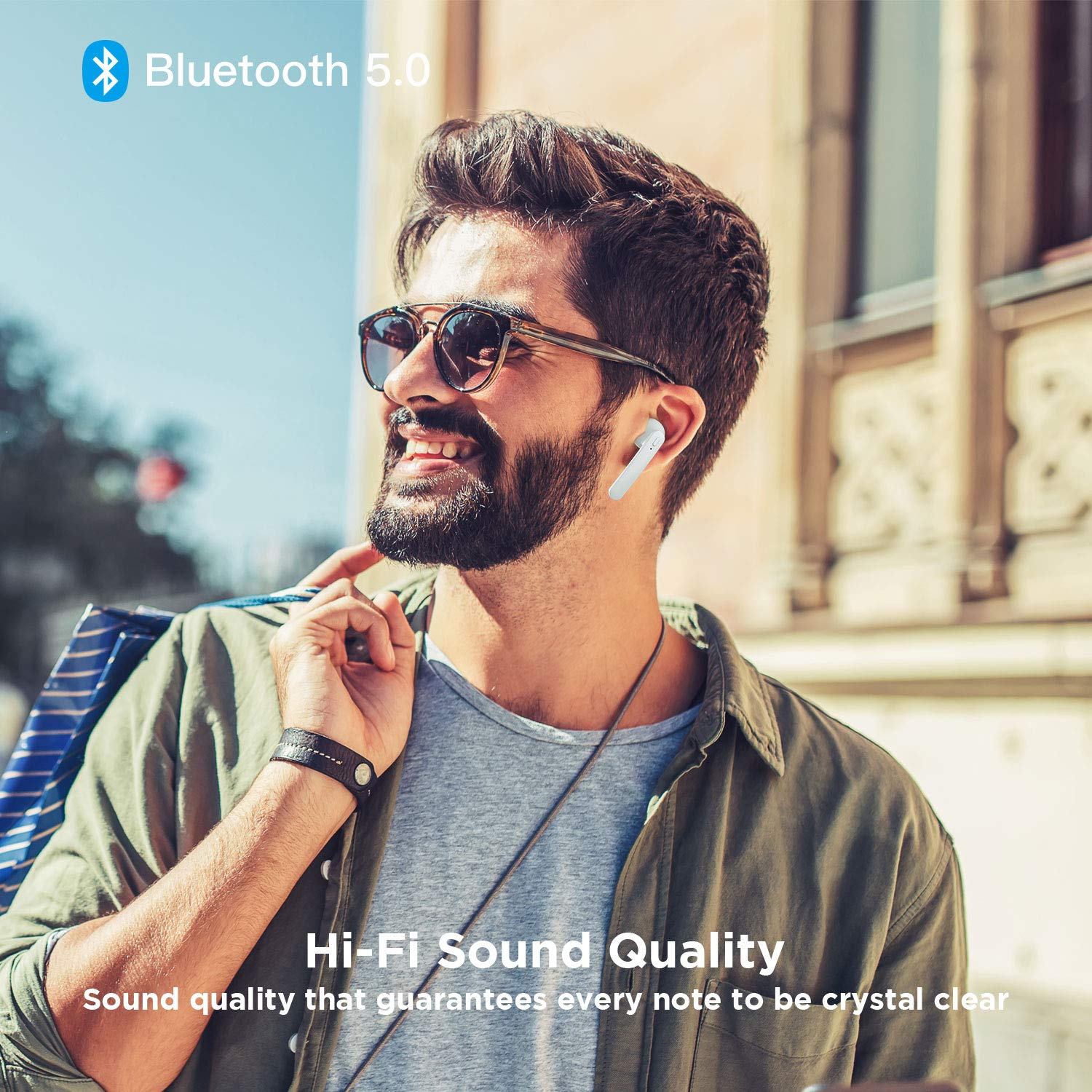 Wireless Earbuds, Letsfit Bluetooth 5.0 Headphones True Wireless HD Stereo Sound Earbuds, in-Ear Headset 24h Playtime with Built-in Mic Portable Charging Case