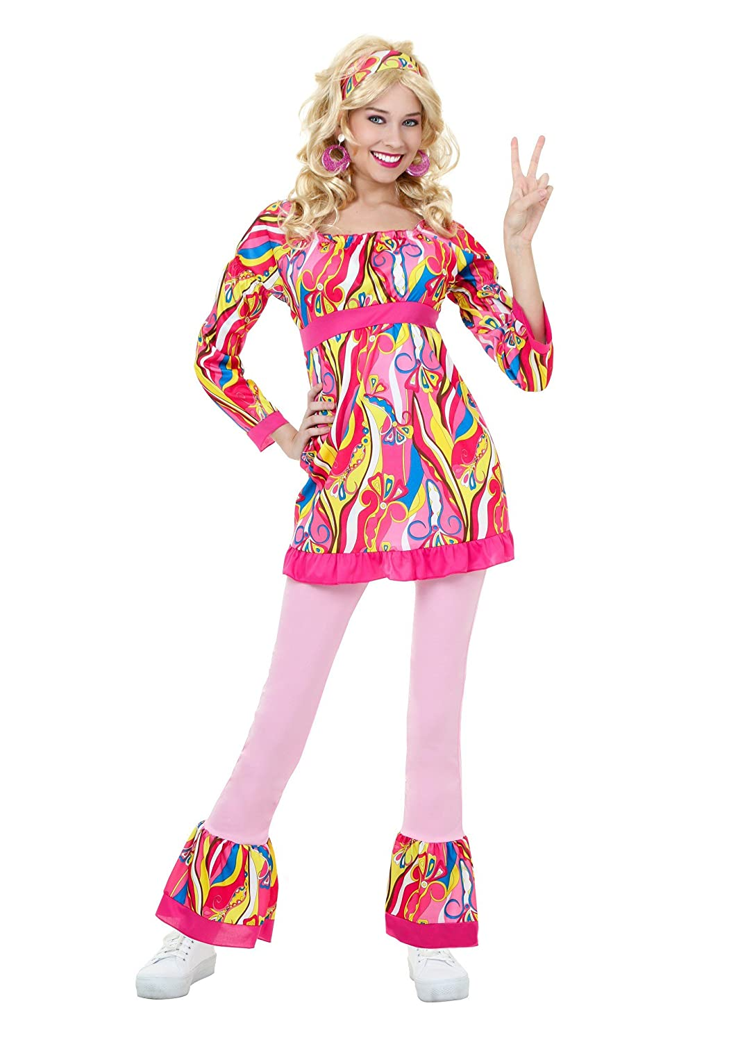 60s Costumes: Hippie, Go Go Dancer, Flower Child, Mod Style Adult Disco Top and Bell Bottoms Costume  AT vintagedancer.com